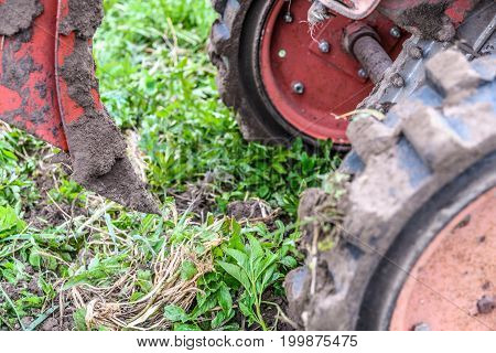 The Wheels Of The Tractor With The Plow And Dug The Earth Up Close. The Concept Of Agricultural Work