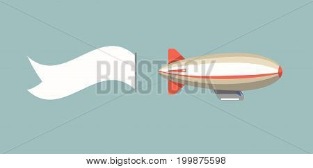 Long blank promotional banner in form of stripe attached to big oblonged airship isolated vector illustration on turquoise background. Creative way to promote. Advertisement in sky tied to aircraft.