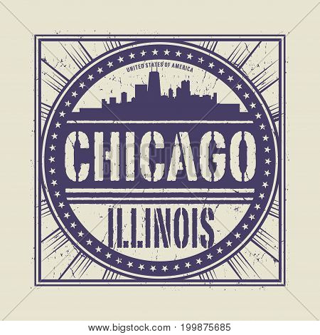 Grunge rubber stamp or label with text Chicago Illinois written inside vector illustration