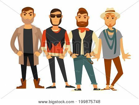 Men different clothes style or man fashion model in casual trendy modern clothing and accessories. Sunglasses, jacket or hat and sneakers shoes, hipster beard haircut. Vector flat isolated icons set