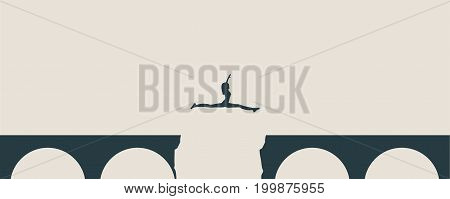 Attractive young woman jumping over a gap in the bridge. Monochrome silhouettes
