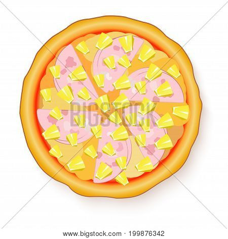 Vector illustration of Tasty, flavorful pizza isolated on white background. Hawaiian Pizza