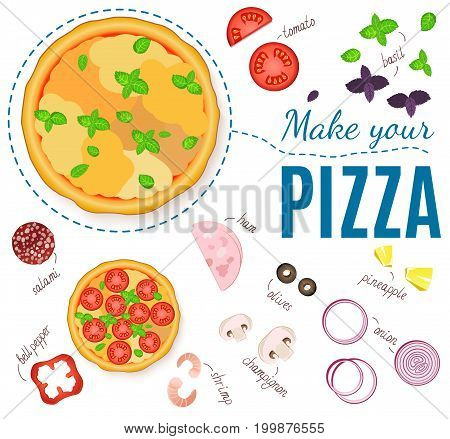 Set realistic ingredients for pizza. Make your pizza. Vector products for the menus and banners pizzerias, cafes, and other design projects.