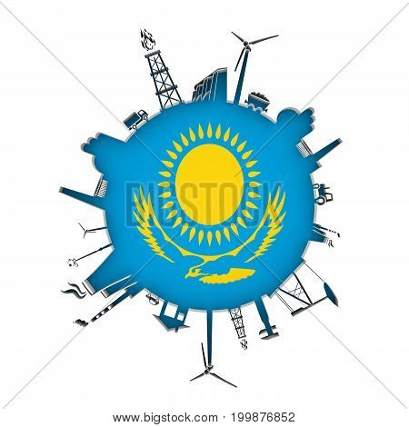 Circle with industry relative silhouettes. Objects located around the circle. Industrial design background. Flag of Kazakhstan in the center. 3D rendering.