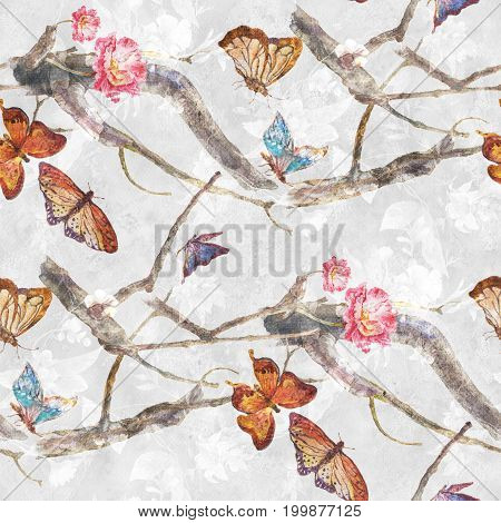 Watercolor painting of butterfly and flowers seamless pattern on white background