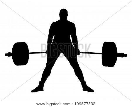 male powerlifter exercise deadlift barbell black silhouette