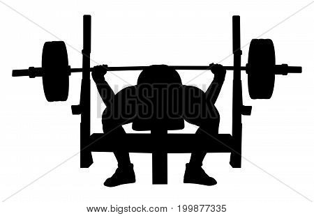 man athlete powerlifter bench press black silhouette