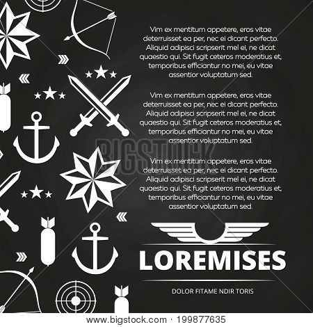 Blackboard poster design with swords, anchor, arrow for army or navy. Vector illustration