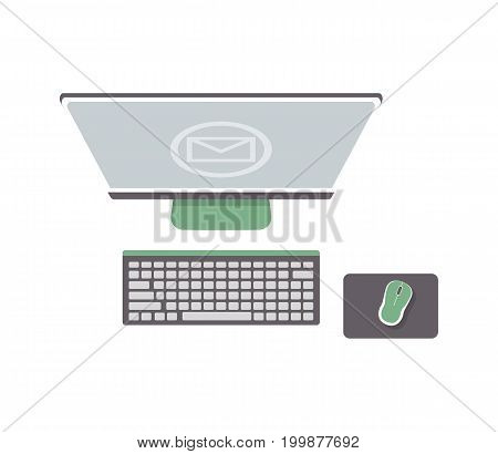 Desktop computer isolated icon in flat design. Top view monitor, keyboard and computer mouse, modern pc vector illustration.
