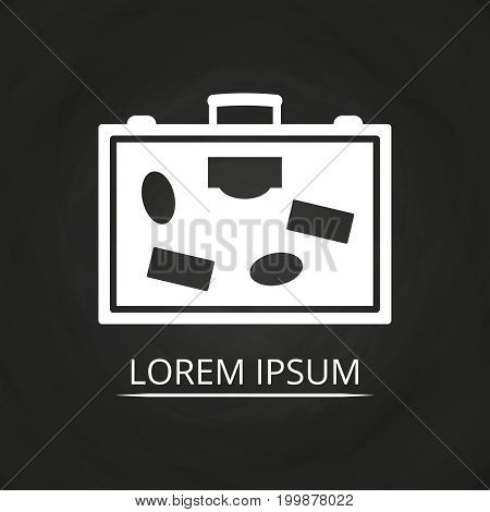 Travel bag or suitcase icon on chalkboard - tourism concept. Bag icon, suitcase for tourism, vector illustration