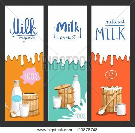 Milk products vertical flyer set. Natural organic dairy product banner, fresh and healthy farm food concept, market advertising template. Layout for milk package vector illustration in cartoon style.