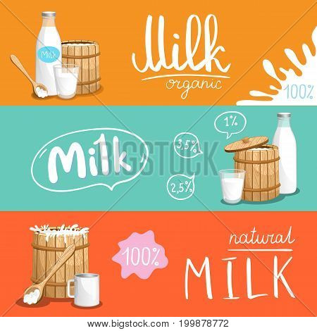 Milk products horizontal flyer set. Natural organic dairy product banner, fresh and healthy farm food concept, market advertising template. Layout for milk package vector illustration in cartoon style