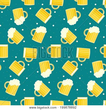 Cute colorful oktoberfest seamless pattern with tasty beer pints. Nice color traditional german oktoberfest holiday texture for textile wrap paper wallpaper background surface cover