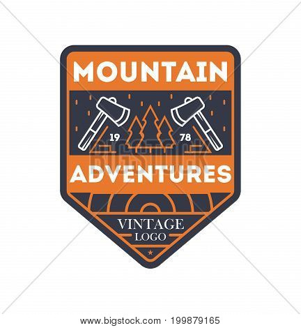Mountain adventures vintage isolated badge. Outdoor explorer sign, touristic camping label, nature expedition vector illustration