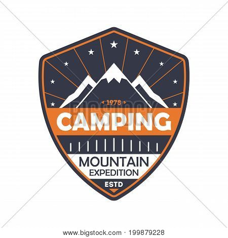 Nature camping vintage isolated badge. Outdoor explorer sign, touristic expedition label, nature hiking vector illustration