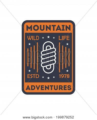 Wildlife adventures vintage isolated badge. Outdoor explorer sign, touristic camping label, nature expedition vector illustration