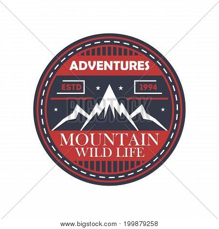 Mountaineering adventures vintage isolated badge. Outdoor explorer sign, touristic camping label, nature expedition vector illustration