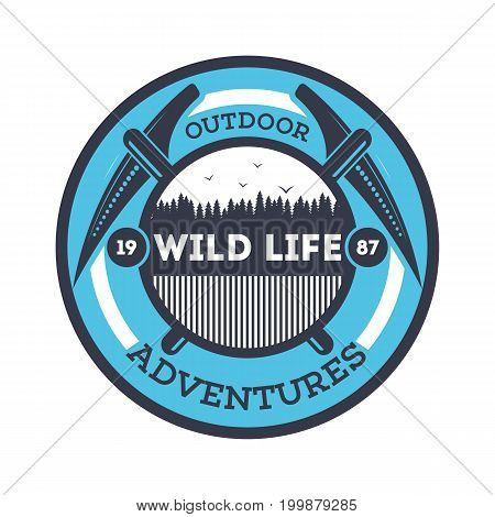 Wildlife adventures vintage isolated badge. Summer camp symbol, mountain and forest explorer, touristic camping label, nature recreation vector illustration.