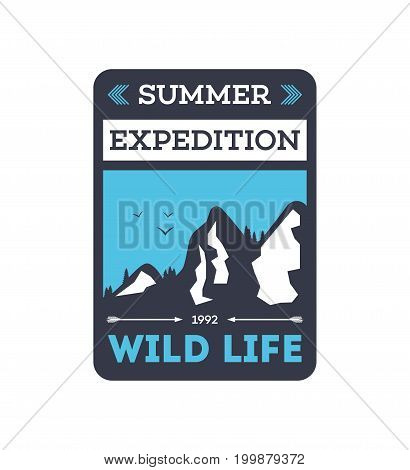 Summer expedition vintage isolated badge. Mountaineering symbol, forest explorer sign, touristic camping label, nature recreation vector illustration.