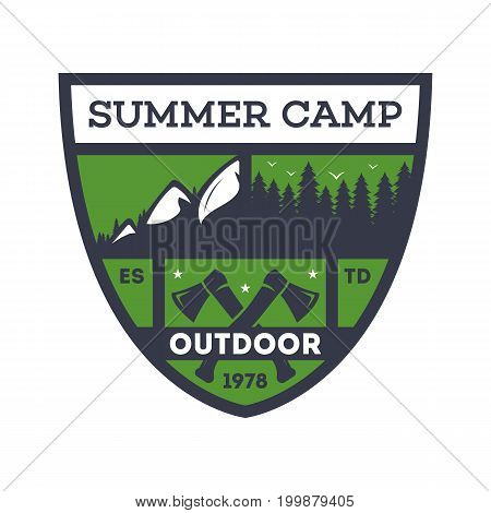 Outdoor summer camp vintage isolated badge. Mountaineering symbol, forest explorer sign, touristic camping label, nature recreation vector illustration.