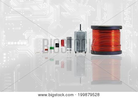 Group of electronics part with copper coil ferrite capacitor resistor thermal fuse and circuit board pattern background. Electronics part concept.