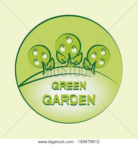 GREEN GARDEN. Logo. Emblem. Label. Composition for farm products. Design for printing on paper or fabric, decoration of packaging for fruit.