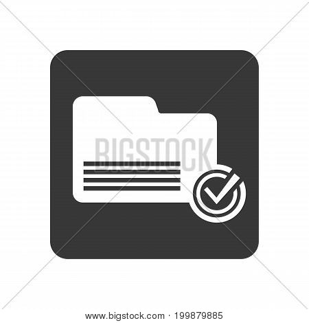 Quality control icon with folder sign. Quality management pictogram isolated vector illustration.