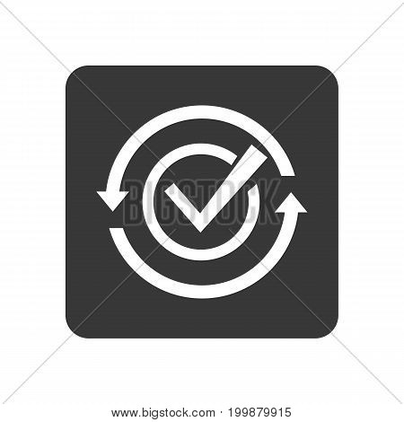 Quality control icon with checking sign. Quality management pictogram isolated vector illustration.