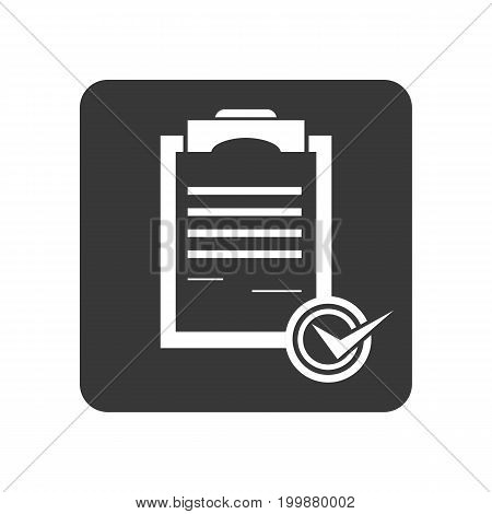 Quality control icon with checklist sign. Quality management pictogram isolated vector illustration.