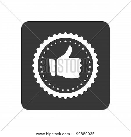 Quality control icon with hand thumb up sign. Quality management pictogram isolated vector illustration.