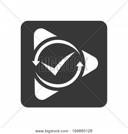 Quality control icon with check mark sign. Quality management pictogram isolated vector illustration.
