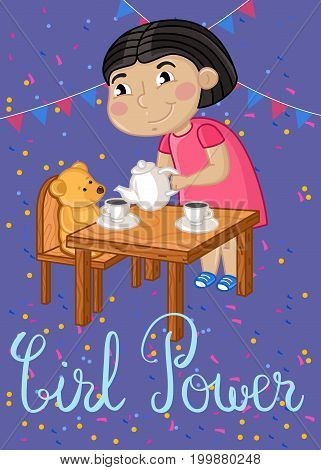 Girl power kids postcard with little girl gaming in tea party. Cute greeting card, birthday congratulation, event invitation cover. Interesting children life, happy childhood vector illustration.
