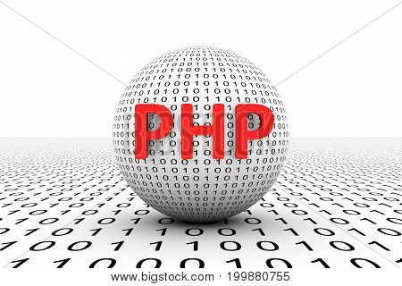 PHP conceptual sphere binary code 3d illustration