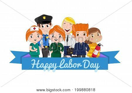 Happy labor day card with children in professional costumes of firefighter, stewardess, nurse, policeman. Cute national holiday congratulation card. People different occupation vector illustration