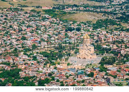 Tbilisi, Georgia. Top View Of Sameba Or Holy Trinity Cathedral Of Tbilisi, The Main Georgian Orthodox Church Erected On The Elia Hill Nowadays. Georgia