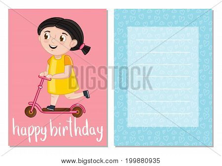 Happy birthday kids postcard with little girl on kick scooter. Cute greeting card, brochure, invitation cover. Interesting children life story, happy childhood vector illustration in cartoon style.