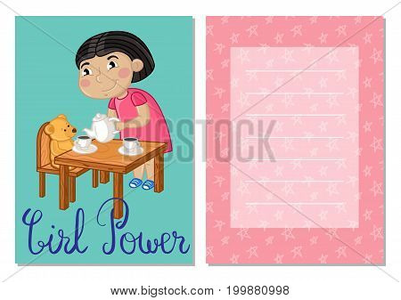 Girl power kids postcard set with little girl gaming in tea party. Cute greeting card, birthday congratulation, event invitation cover. Interesting children life, happy childhood vector illustration.