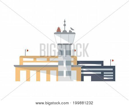 Airport building with control tower isolated icon. Airport terminal, shipping company, cargo delivery vector illustration in flat design.