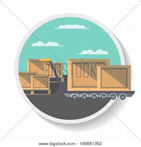 Logistics icon with delivery boxes on truck in flat design. Global or local shipping service, logistic company isolated vector illustration.