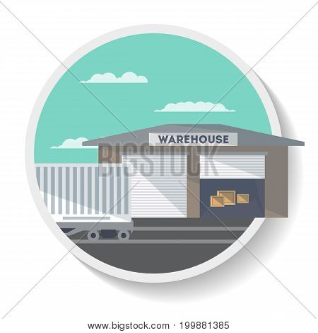 Logistics icon with commercial railway wagon near warehouse. Freight container, cargo train on railroad, worldwide delivery service isolated vector illustration.