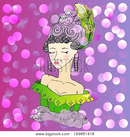 Vector rococo doodle girl wearing big hairstyle and shoulder open dress on bright party background.