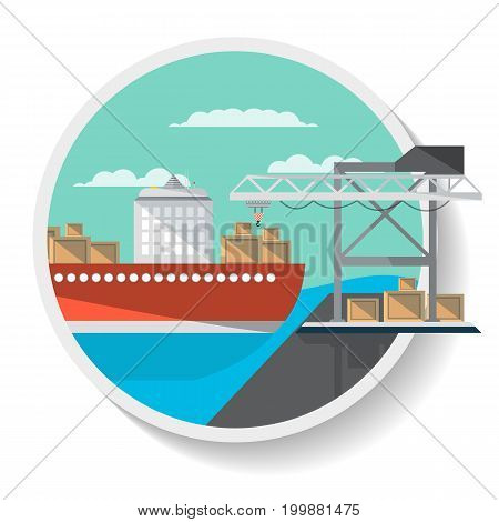 Logistics icon with freight ship in flat design. Commercial vessel, worldwide delivery service isolated vector illustration.