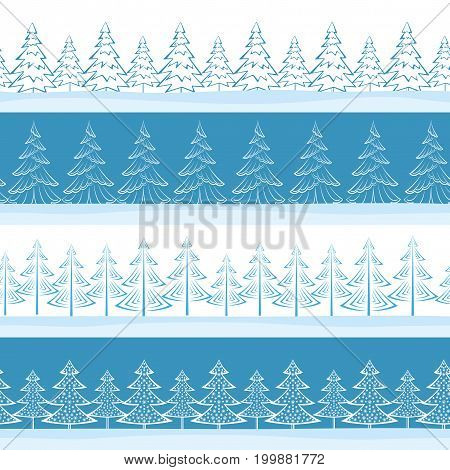 Christmas Horizontal Seamless Background, Landscape with Fir Trees, Winter Holiday Illustration. Vector