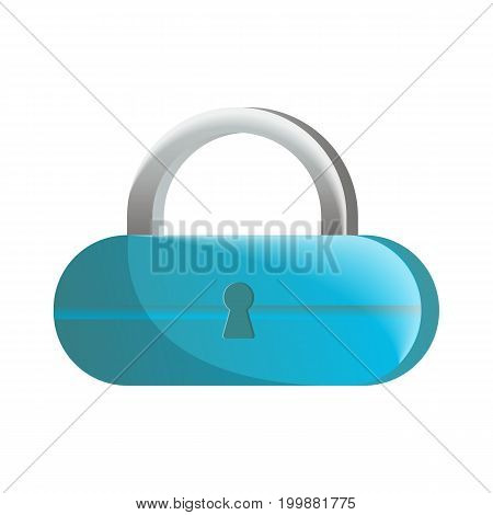 Closed blue lock icon in flat design. Security protection, key safety element, blocking sign for mobile application isolated on white background vector illustration.