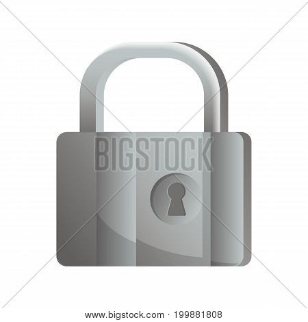 Mechanical old lock icon in flat design. Security protection, key safety element, blocking sign for mobile application isolated on white background vector illustration.