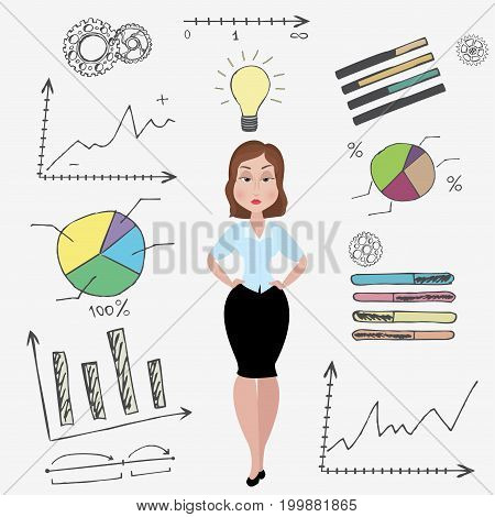 Cartoon businesswoman and doodle business set on backgroundidea concept stock vector illustration