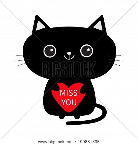 Cute black cat icon holding red heart. Miss you. Funny cartoon character. Kawaii animal. Kitty kitten. Baby pet collection. White background. Isolated. Valentines Day. Flat design. Vector