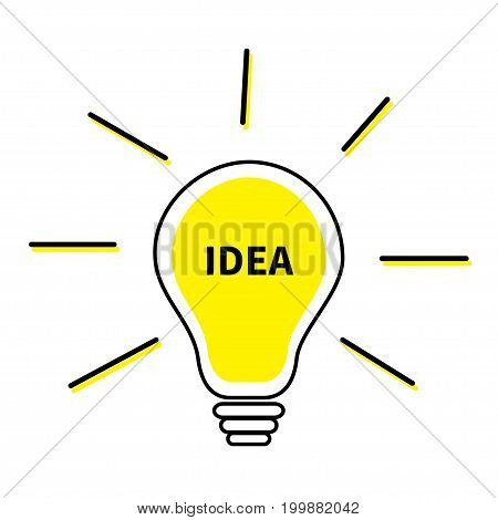 Light bulb line icon. Idea text inside. Shining effect. Yellow color switch on lamp. Business success concept. Flat design. White background. Isolated. Vector illustration