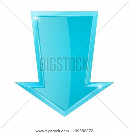 Blue down arrow. Vector illustration isolated on white background