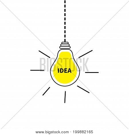 Hanging light bulb icon. Idea text inside. Shining effect. Dash line. Yellow color switch on lamp. Business success concept. Flat design. White background. Isolated. Vector illustration